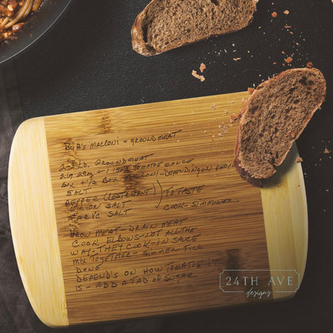 Recipe on Cutting Board - Bamboo cutting board Handwriting Restored- Handwritten Gift - Family recipe cutting board