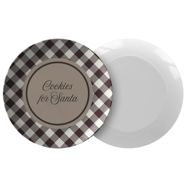 Cookies For Santa Plate - Santa cookie plate Black and white Buffalo Plaid , christmas cookie plate