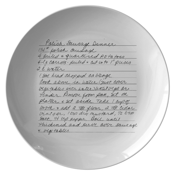 Recipe plate for Kujak - 24th Ave Designs