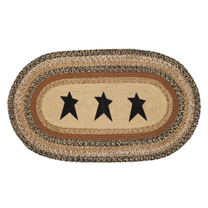 VHC Brands Kettle Grove Jute Rug Oval Stencil Star 27x48