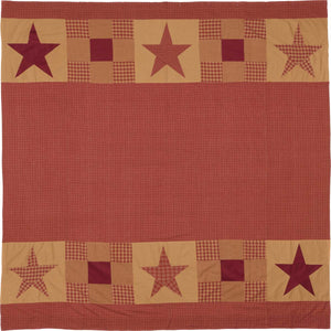 VHC Brands | Primitive Bath | Ninepatch Star Shower Curtain w/ Patchwork Borders 72x72