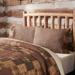 VHC Brands Rustic & Lodge | Bedding & Pillows | Prescott Standard Pillow Case Block Border Set of 2 21x30