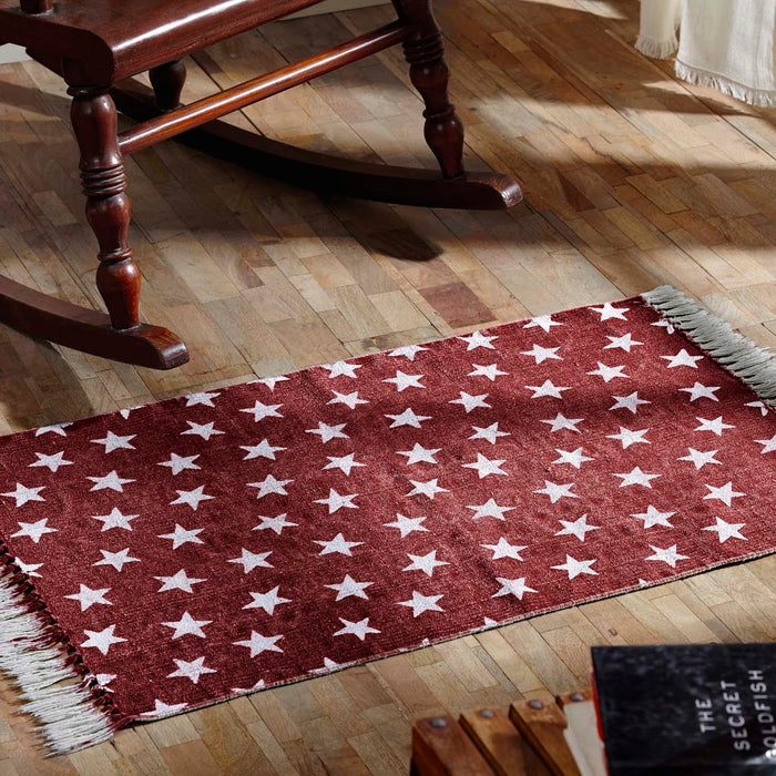 Multi Star Red Cotton Rug Rect 36x60