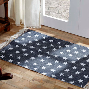 VHC Brands Multi Star Navy Cotton Rug Rect 20x30