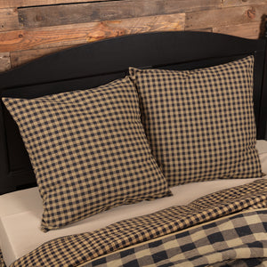 VHC Brands Primitive | Bedding & Pillows | Black Check Fabric Euro Sham 26x26