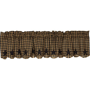 VHC Brands Primitive |  Window Treatments | Black Star Scalloped Valance 16x72