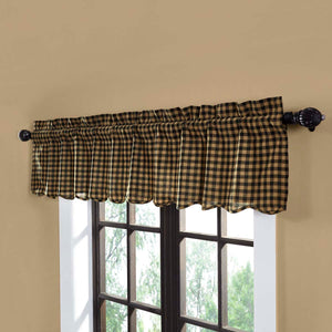 VHC Brands Primitive |  Window Treatments | Black Check Scalloped Valance 16x72