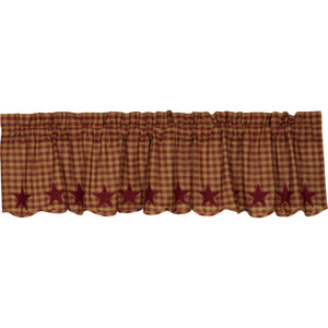 VHC Brands Primitive |  Window Treatments | Burgundy Star Scalloped Valance 16x72