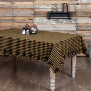 VHC Brands | Primitive Kitchen & Tabletop Decor | Black Star Scalloped Table Cloth 60x80