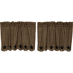 VHC Brands Primitive | Kitchen Window Treatments | Black Star Scalloped Tier Set of 2 L24xW36