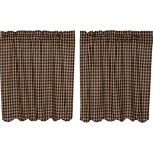 VHC Brands Primitive | Kitchen Window Treatments | Navy Check Scalloped Tier Set of 2 L36xW36