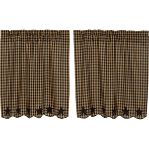 VHC Brands Primitive | Kitchen Window Treatments | Black Star Scalloped Tier Set of 2 L36xW36