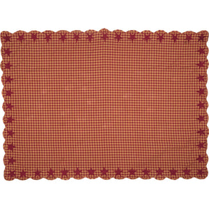 VHC Brands | Primitive Kitchen & Tabletop Decor | Burgundy Star Scalloped Table Cloth 60x80