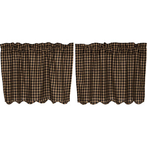 VHC Brands Primitive | Kitchen Window Treatments | Black Check Scalloped Tier Set of 2 L24xW36
