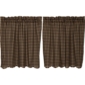 VHC Brands Primitive | Kitchen Window Treatments | Black Check Scalloped Tier Set of 2 L36xW36