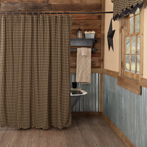 VHC Brands | Primitive Bath | Black Check Scalloped Shower Curtain 72x72