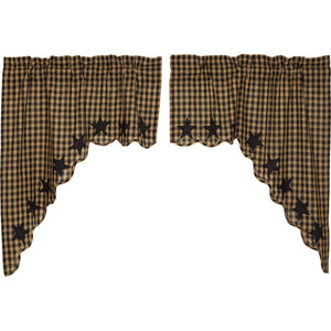 VHC Brands Primitive | Kitchen Window Treatments | Black Star Scalloped Swag Set of 2 36x36x16