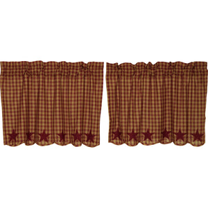VHC Brands Primitive | Kitchen Window Treatments | Burgundy Star Scalloped Tier Set of 2 L24xW36