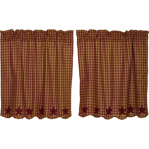 VHC Brands Primitive | Kitchen Window Treatments | Burgundy Star Scalloped Tier Set of 2 L36xW36