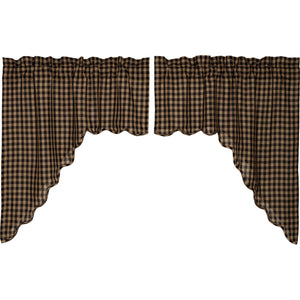 VHC Brands Primitive | Kitchen Window Treatments | Black Check Scalloped Swag Set of 2 36x36x16