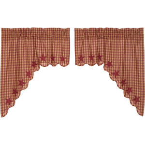 VHC Brands Primitive | Kitchen Window Treatments | Burgundy Star Scalloped Swag Set of 2 36x36x16