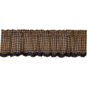 VHC Brands Primitive |  Window Treatments | Navy Check Scalloped Layered Valance 16x72