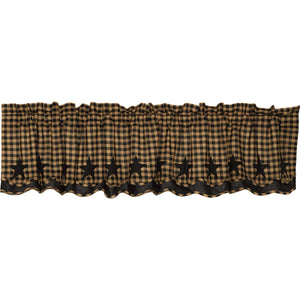 VHC Brands Primitive |  Window Treatments | Black Star Scalloped Layered Valance 16x72