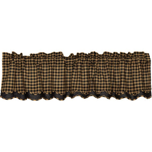 VHC Brands Primitive |  Window Treatments | Black Check Scalloped Layered Valance 16x72