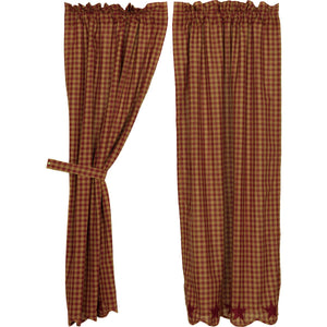 VHC Brands Primitive |  Window Treatments | Burgundy Star Scalloped Short Panel Set of 2 63x36