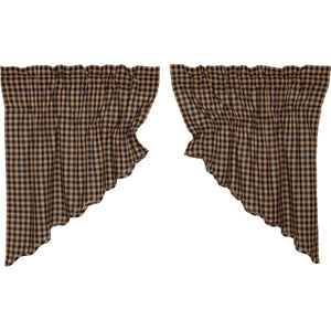 VHC Brands Primitive | Kitchen Window Treatments | Navy Check Scalloped Prairie Swag Set of 2 36x36x18