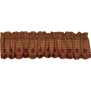 VHC Brands Primitive |  Window Treatments | Burgundy Star Scalloped Layered Valance 16x72