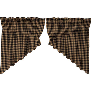 VHC Brands Primitive | Kitchen Window Treatments | Black Check Scalloped Prairie Swag Set of 2 36x36x18