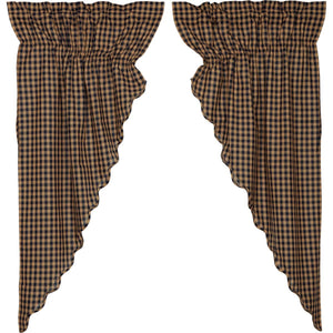 VHC Brands Primitive |  Window Treatments | Navy Check Scalloped Prairie Short Panel Set of 2 63x36x18