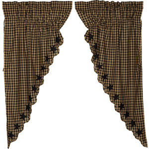 VHC Brands Primitive |  Window Treatments | Black Star Scalloped Prairie Short Panel Set of 2 63x36x18