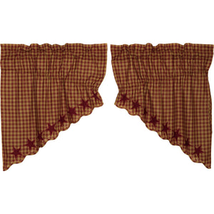 VHC Brands Primitive | Kitchen Window Treatments | Burgundy Star Scalloped Prairie Swag Set of 2 36x36x18