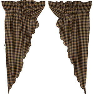 VHC Brands Primitive |  Window Treatments | Black Check Scalloped Prairie Short Panel Set of 2 63x36x18