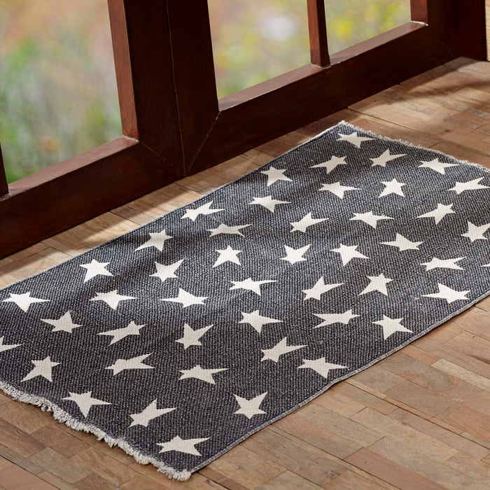 Black Primitive Star Rug Rect 36x60