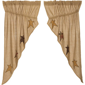 VHC Brands Primitive |  Window Treatments | Stratton Burlap Applique Star Prairie Short Panel Set-2 63x36x18