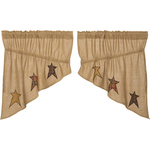 VHC Brands Primitive | Kitchen Window Treatments | Stratton Burlap Applique Star Prairie Swag Set of 2 36x36x18
