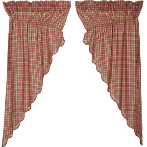 VHC Brands Americana |  Window Treatments | Independence Scalloped Prairie Short Panel Set of 2 63x36x18