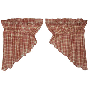 VHC Brands Independence Scalloped Prairie Swag Set of 2 36x36x18