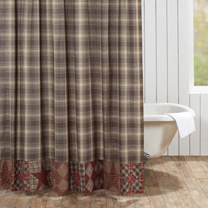 VHC Brands | Rustic & Lodge Bath | Dawson Star Patchwork Shower Curtain 72x72
