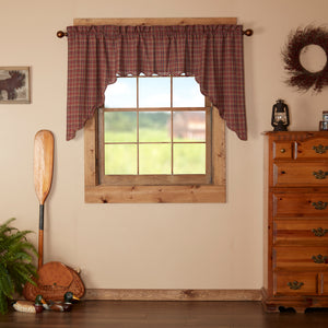 VHC Brands Rustic & Lodge | Kitchen Window Treatments | Parker Scalloped Swag Set of 2 36x36x16