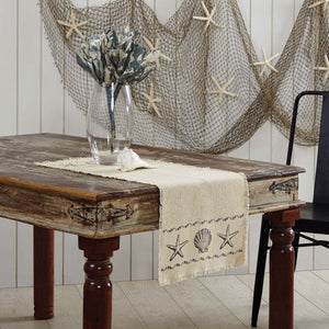 VHC Brands | Coastal Kitchen & Tabletop Decor | Sandy Creme Burlap Runner 13x36