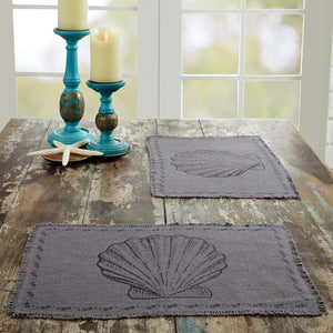 VHC Brands | Coastal Kitchen & Tabletop Decor | Sandy Grey Burlap Placemat Set of 6 12x18