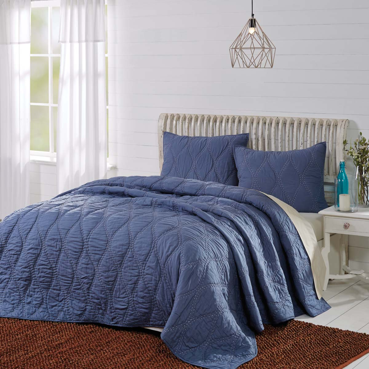 Vhc Brands Farmhouse Bedding Pillows Cotton Batting Harbour Navy Twin Quilt 68wx86l