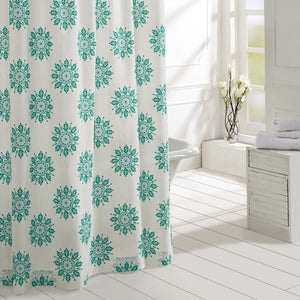VHC Brands | Boho & Eclectic Bath | Mariposa Turquoise Shower Curtain 72x72