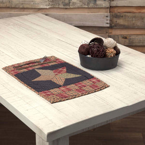 VHC Brands | Classic Country Kitchen & Tabletop Decor | Arlington Placemat Quilted Patchwork Star Set of 6 12x18
