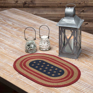 VHC Brands | Americana Kitchen & Tabletop Decor | Liberty Stars Flag Jute Placemat Set of 6 12x18