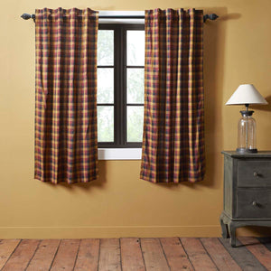 VHC Brands Primitive |  Window Treatments | Heritage Farms Primitive Check Short Panel Set of 2 63x36